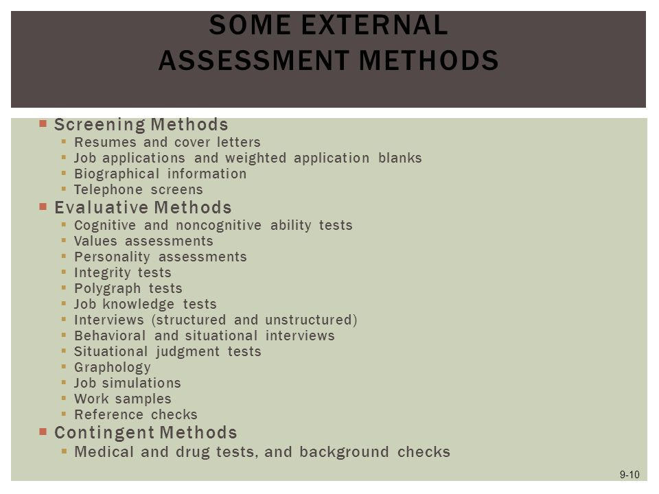 Some External Assessment Methods