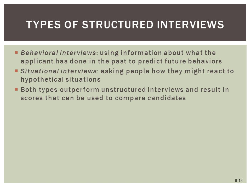 Types of Structured Interviews