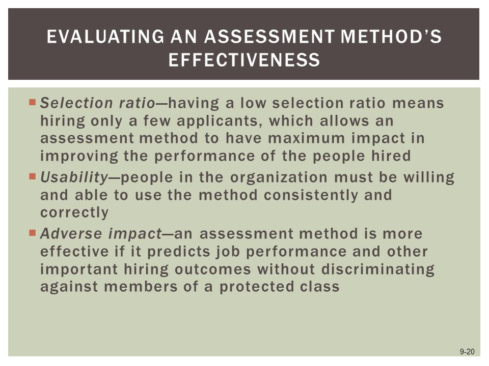 Evaluating an Assessment Method's Effectiveness