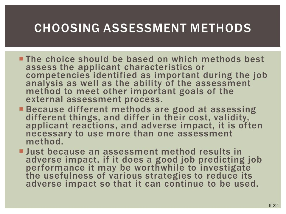 Choosing Assessment Methods