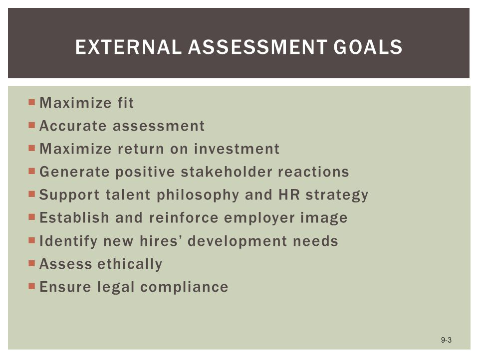 External Assessment Goals