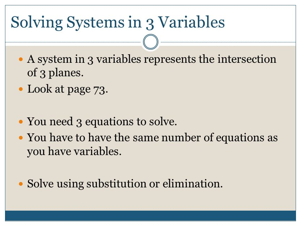 Solving Systems in 3 Variables