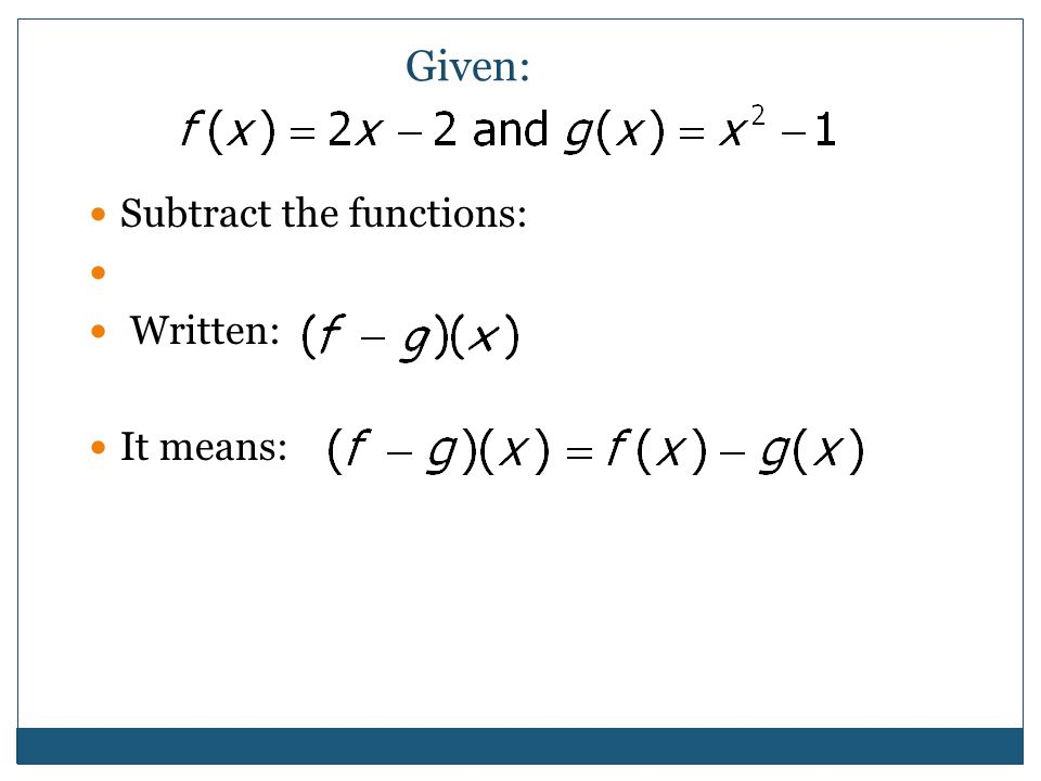 Given: Subtract the functions: Written: It means: