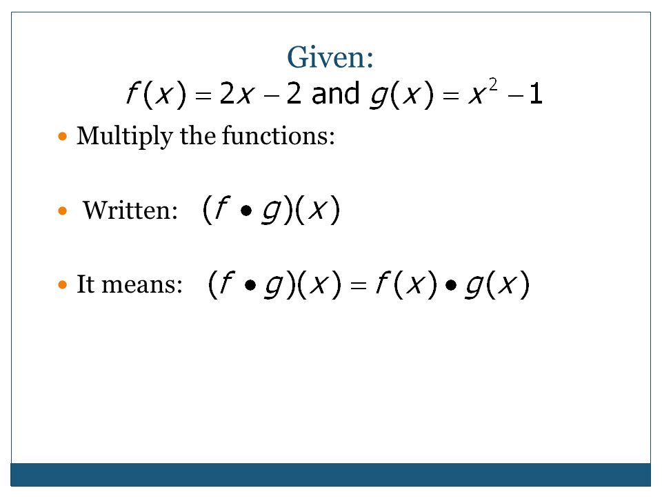 Given: Multiply the functions: Written: It means: