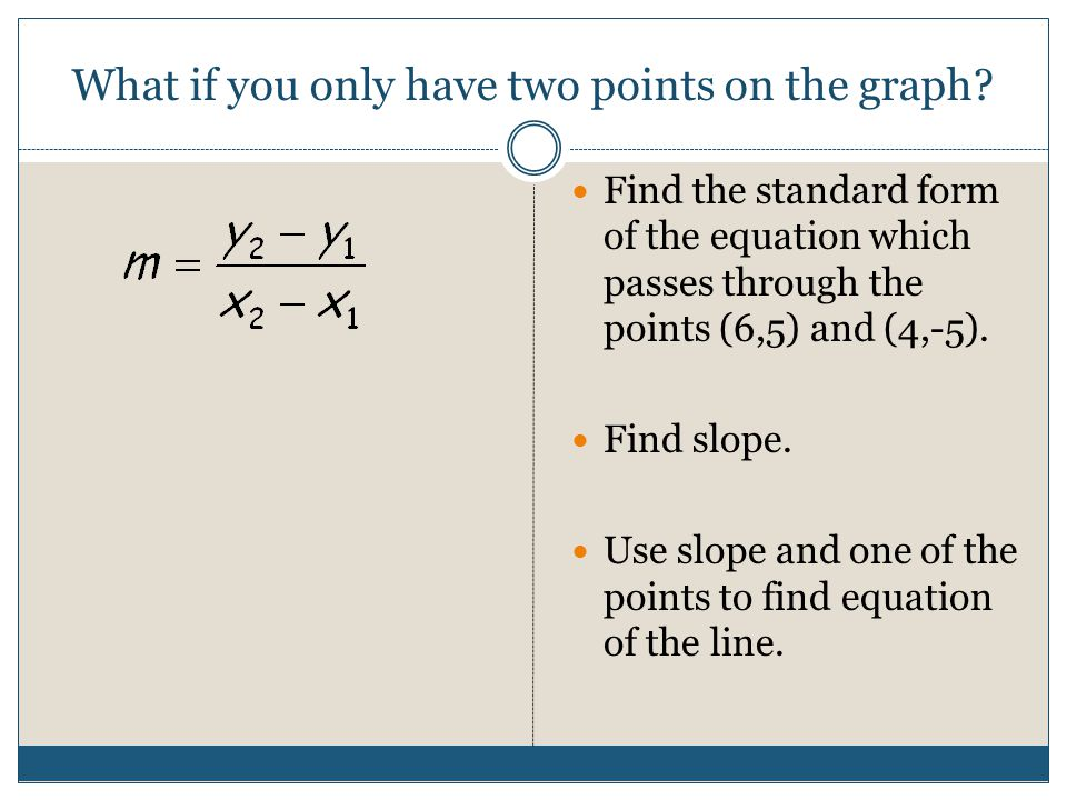 What if you only have two points on the graph