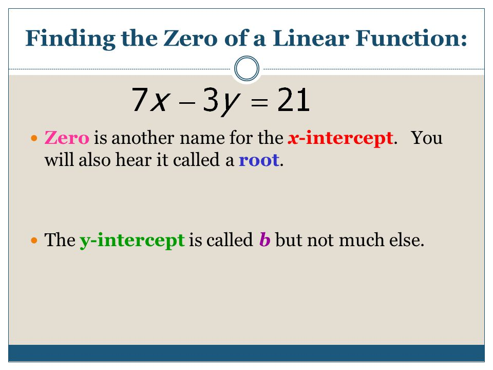 Finding the Zero of a Linear Function: