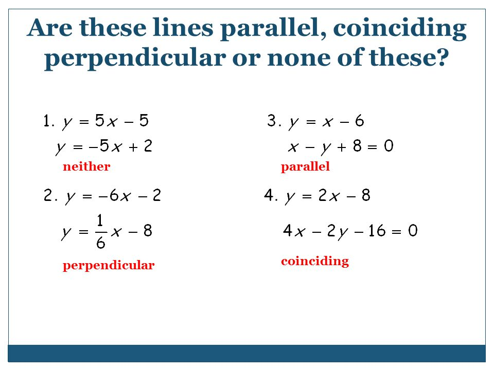 Are these lines parallel, coinciding perpendicular or none of these