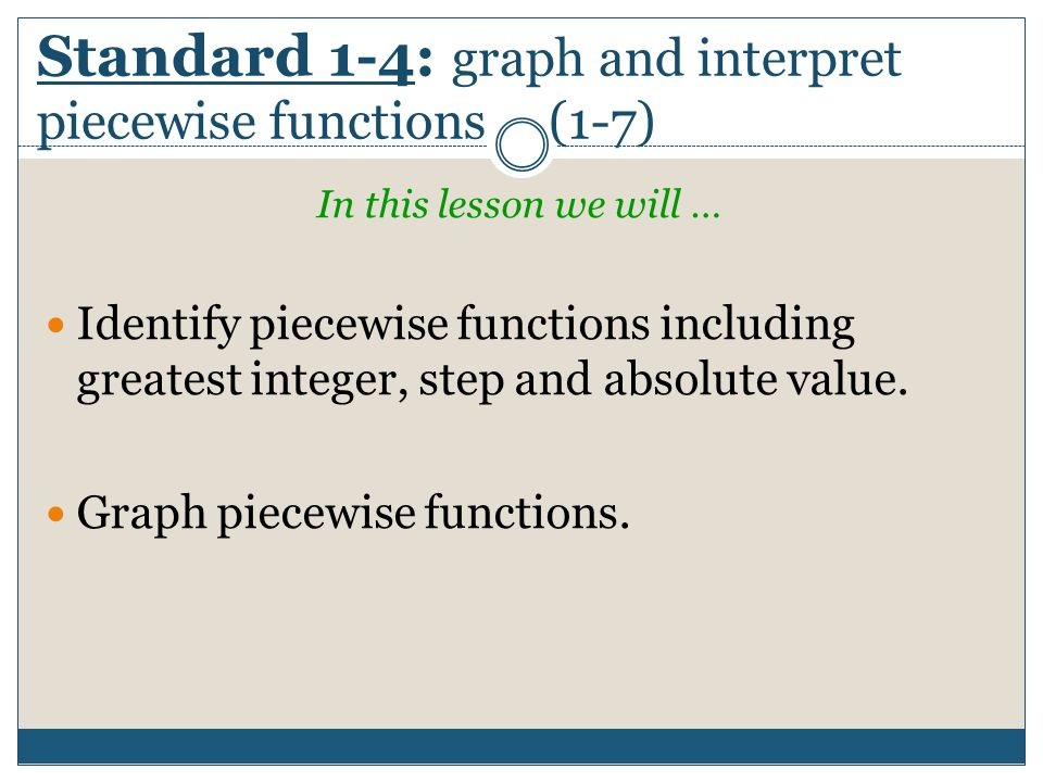 Standard 1-4: graph and interpret piecewise functions (1-7)