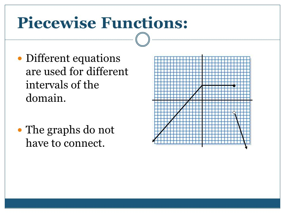 Piecewise Functions: Different equations are used for different intervals of the domain.