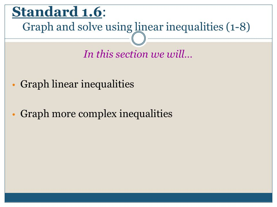 Standard 1.6: Graph and solve using linear inequalities (1-8)