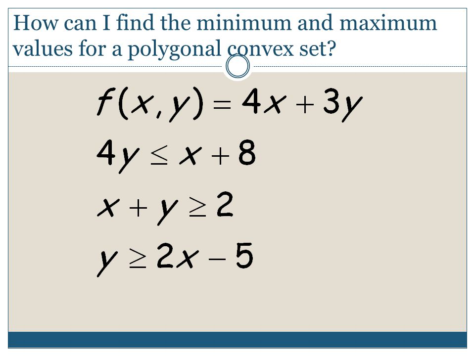 How can I find the minimum and maximum values for a polygonal convex set