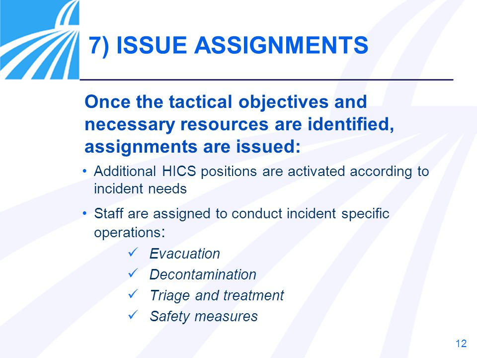 7) ISSUE ASSIGNMENTS Once the tactical objectives and necessary resources are identified, assignments are issued: