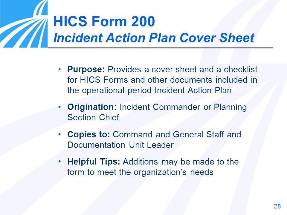 HICS Form 200 Incident Action Plan Cover Sheet