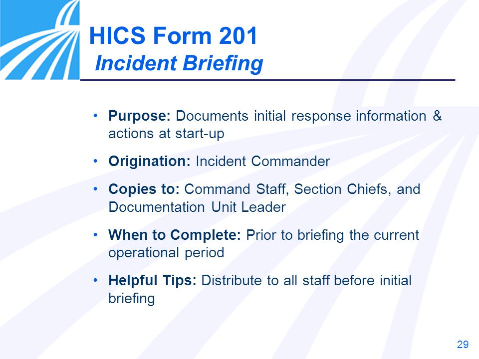 HICS Form 201 Incident Briefing