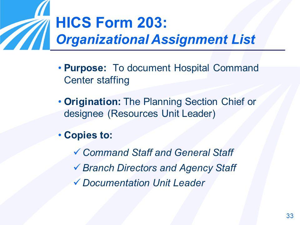HICS Form 203: Organizational Assignment List