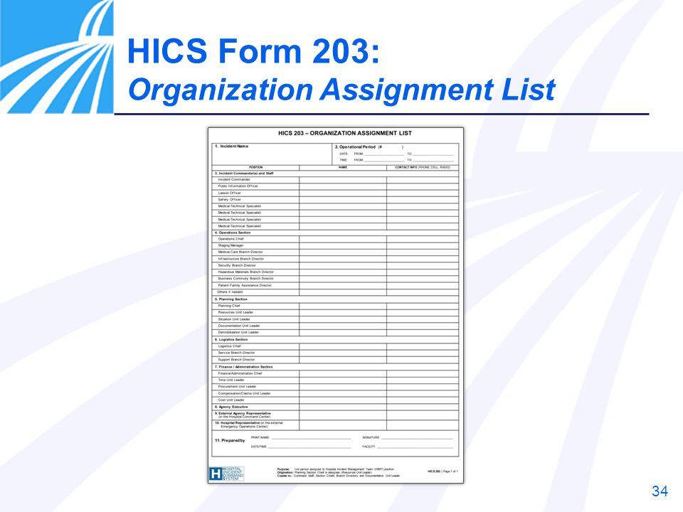 HICS Form 203: Organization Assignment List