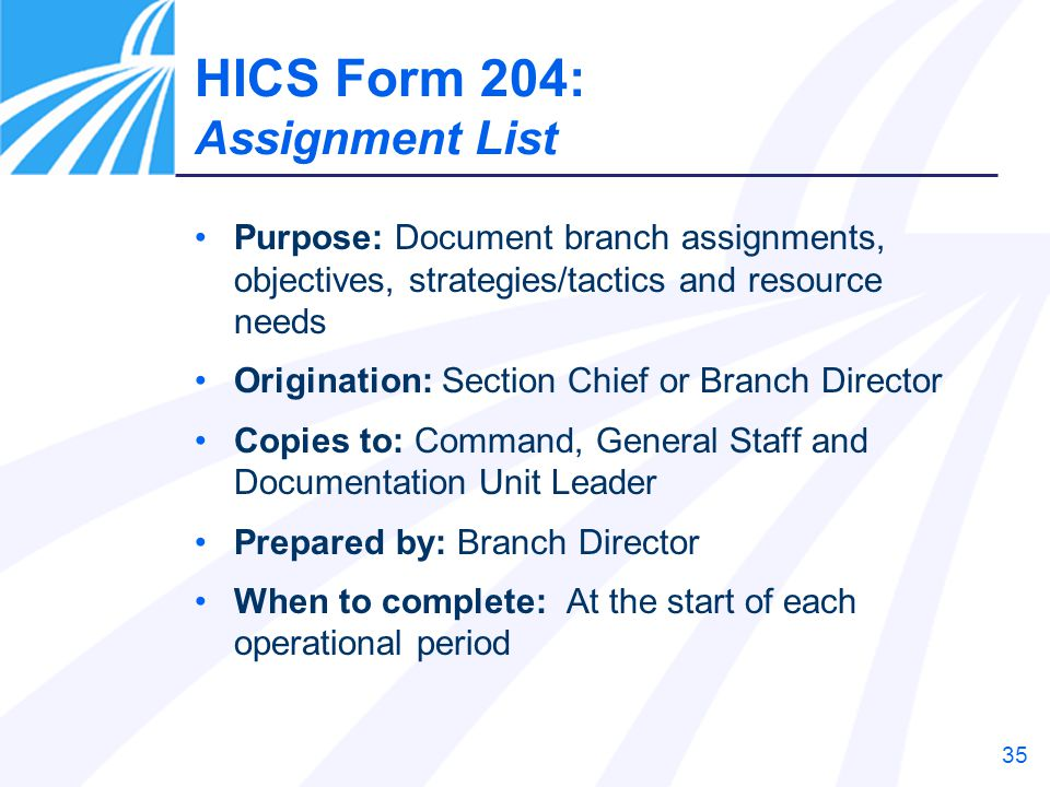 HICS Form 204: Assignment List Previously 204 – Branch Assignment List