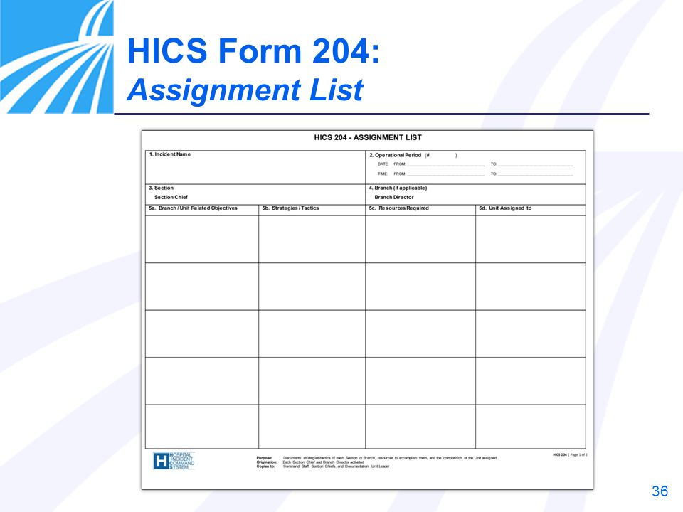 HICS Form 204: Assignment List Instructor Notes: