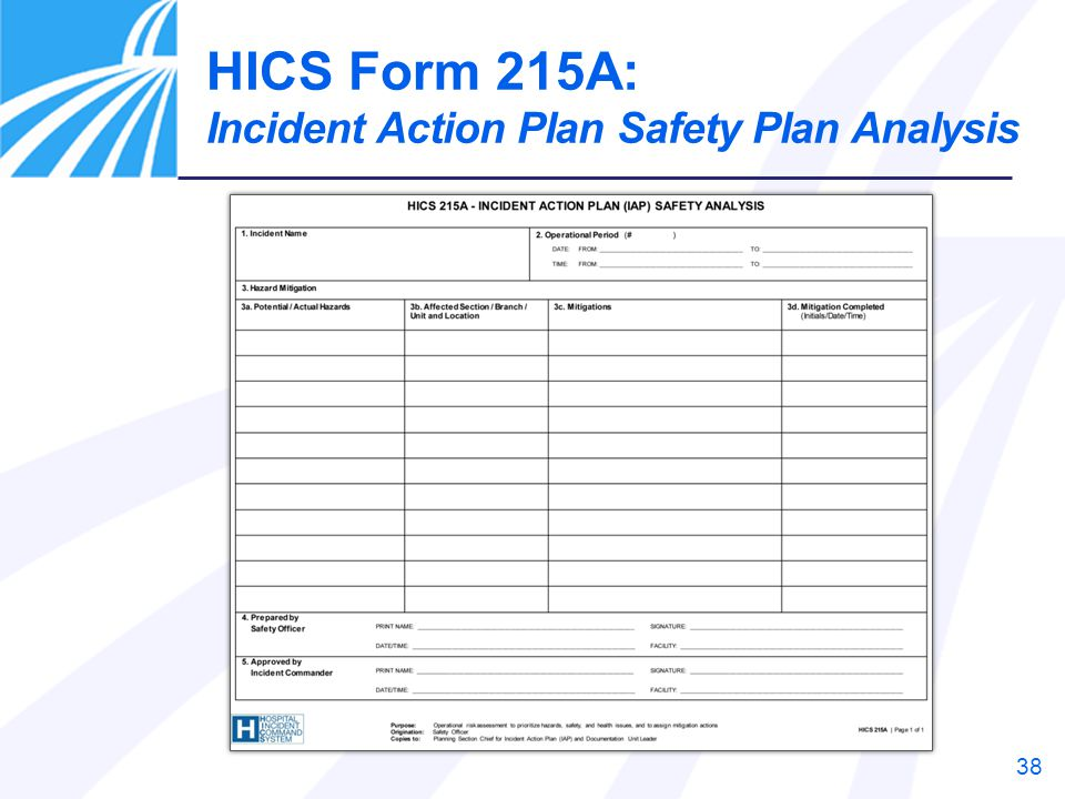 HICS Form 215A: Incident Action Plan Safety Plan Analysis