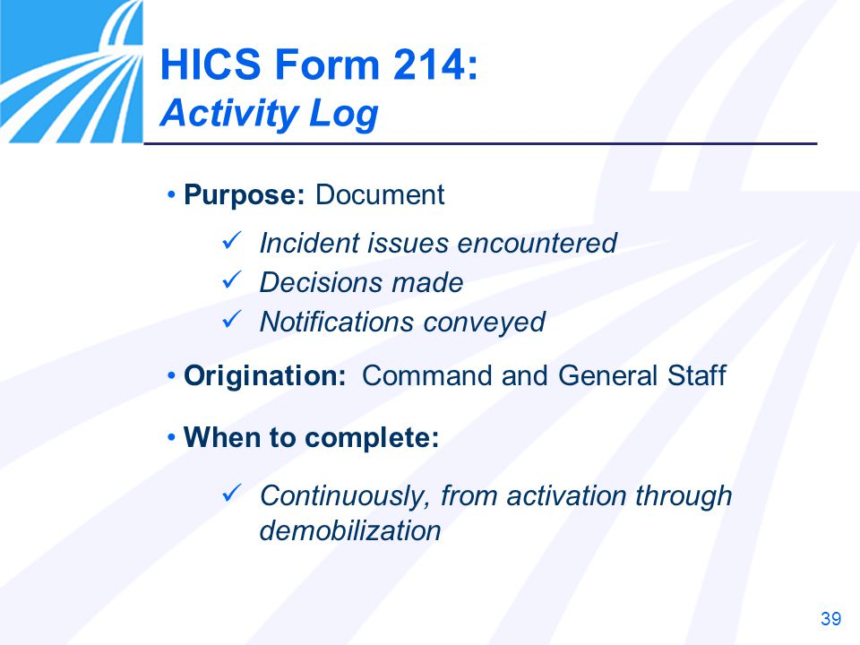 HICS Form 214: Activity Log