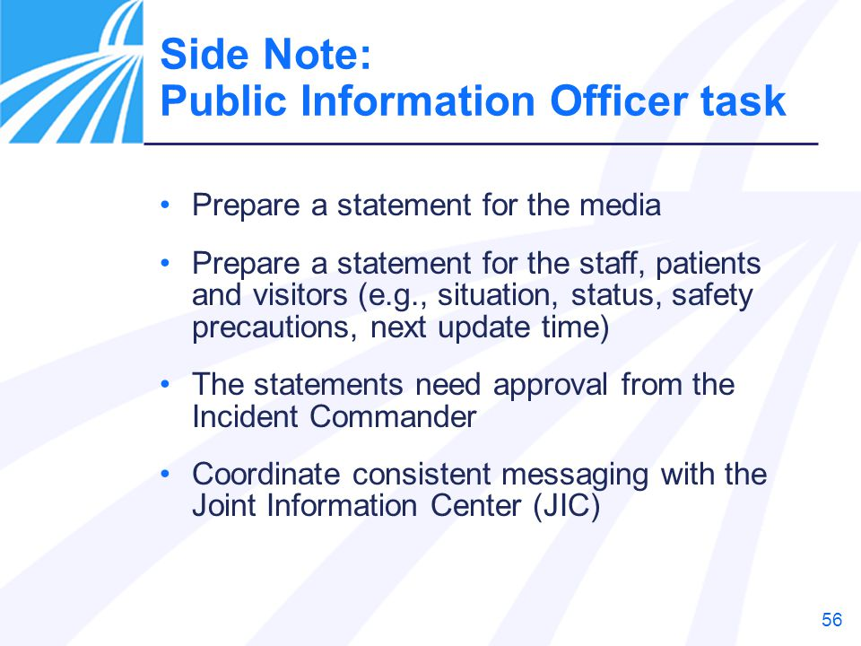 Side Note: Public Information Officer task
