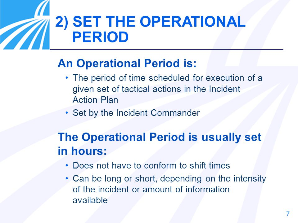 2) SET THE OPERATIONAL PERIOD