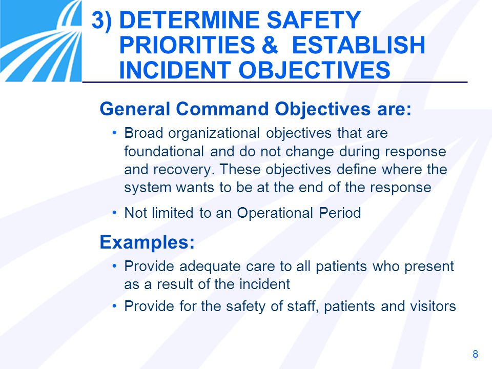 3) DETERMINE SAFETY PRIORITIES & ESTABLISH INCIDENT OBJECTIVES