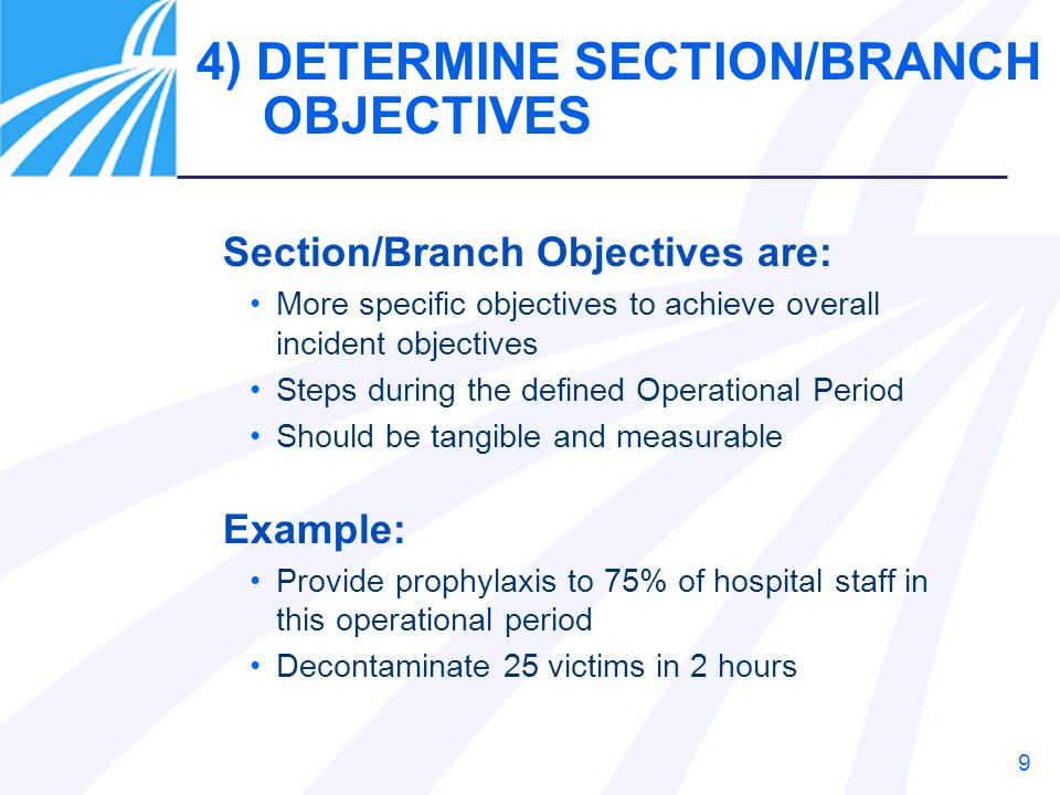 4) DETERMINE SECTION/BRANCH OBJECTIVES