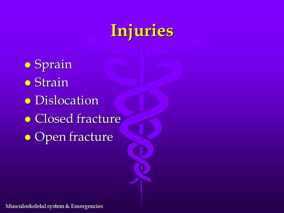 Injuries Sprain Strain Dislocation Closed fracture Open fracture