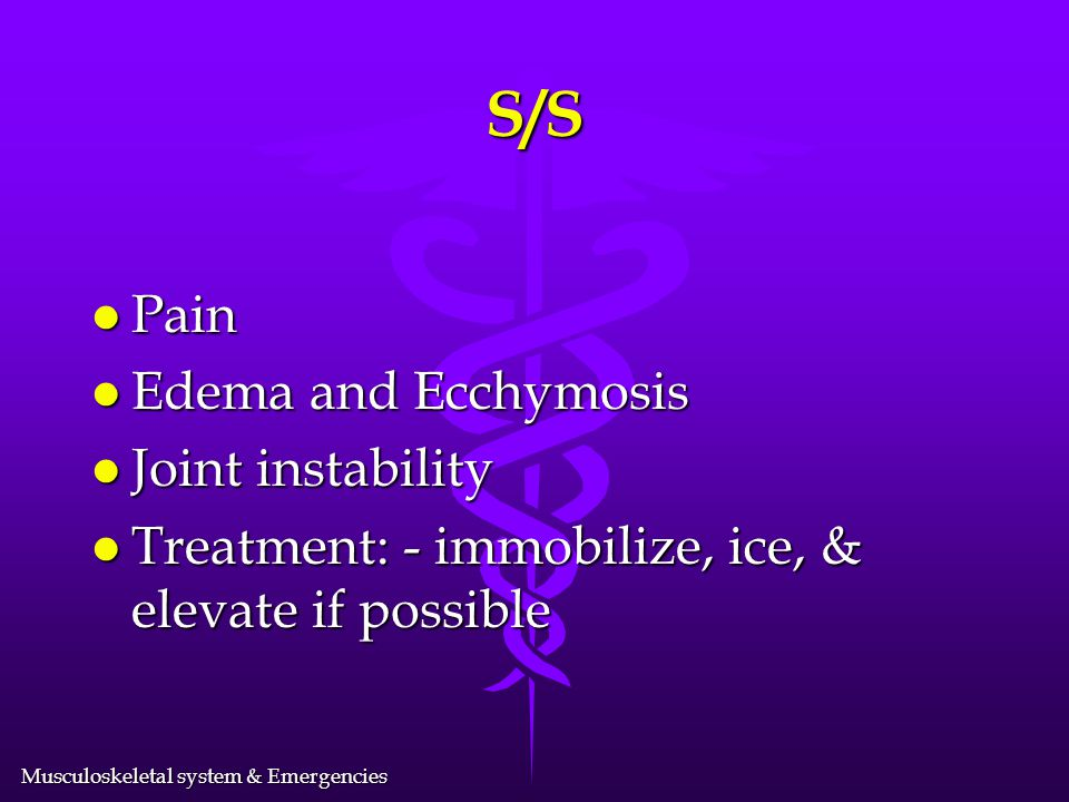 S/S Pain Edema and Ecchymosis Joint instability