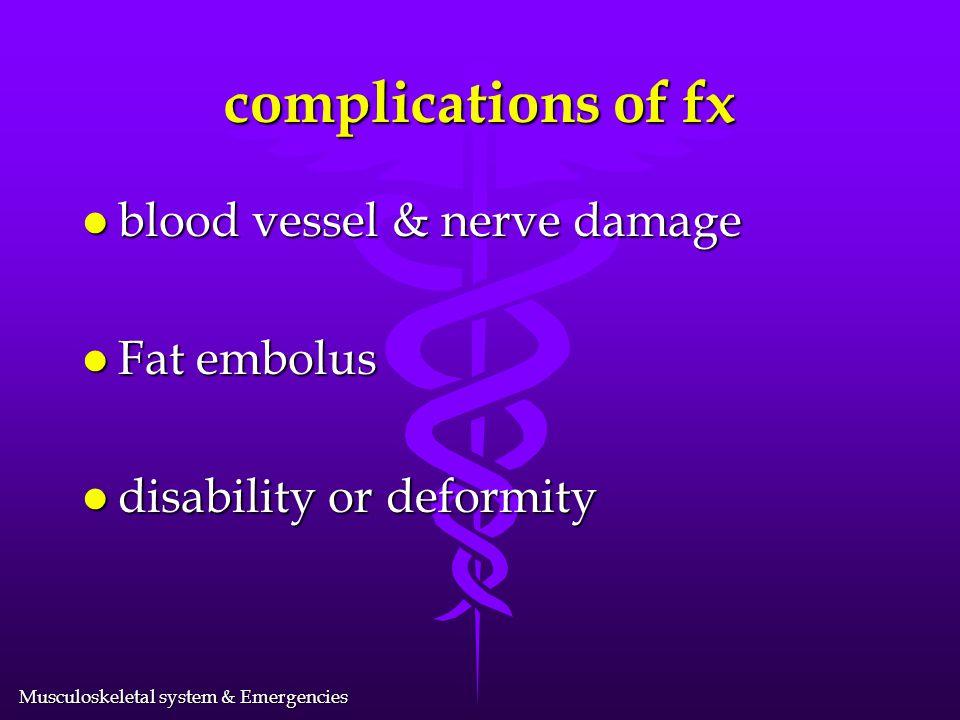 complications of fx blood vessel & nerve damage Fat embolus