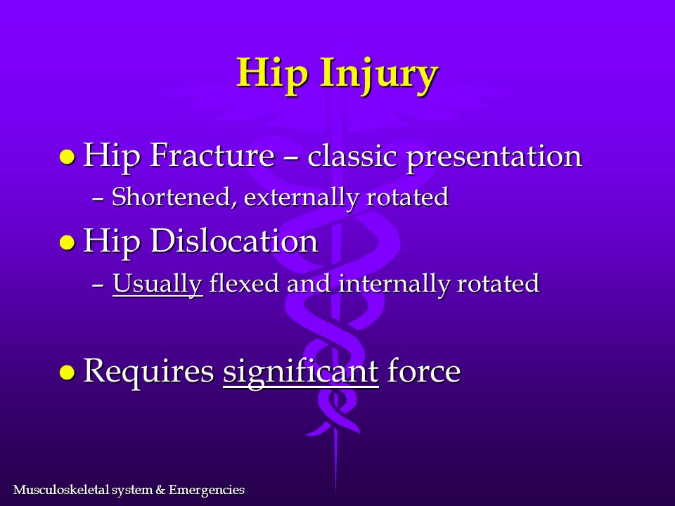 Hip Injury Hip Fracture – classic presentation Hip Dislocation