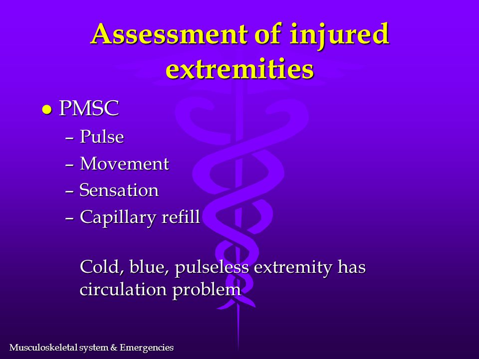 Assessment of injured extremities