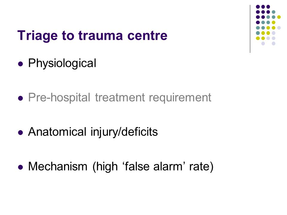 Triage to trauma centre