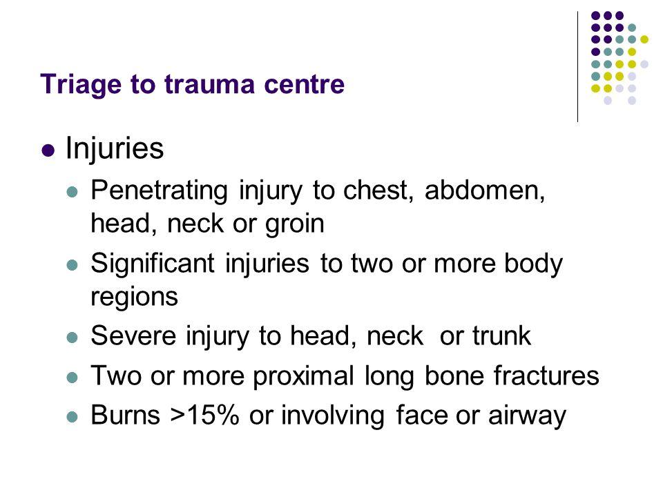 Triage to trauma centre