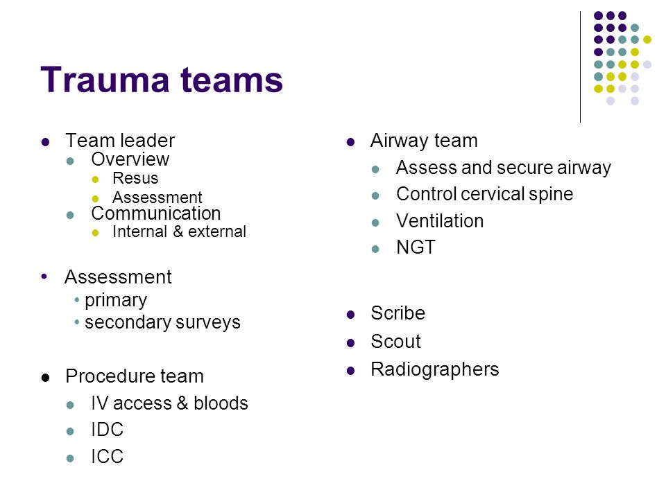 Trauma teams Assessment Team leader Airway team Scribe Scout