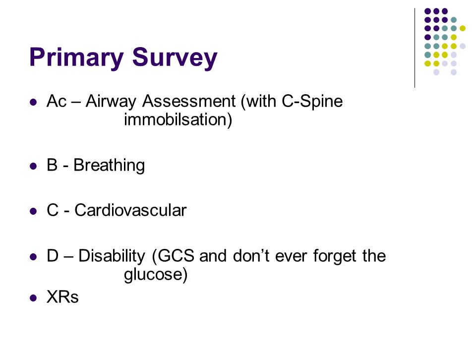 Primary Survey Ac – Airway Assessment (with C-Spine immobilsation)