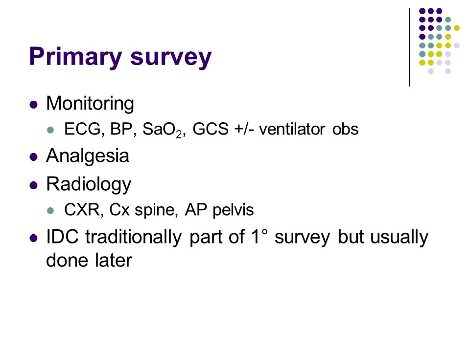 Primary survey Monitoring Analgesia Radiology