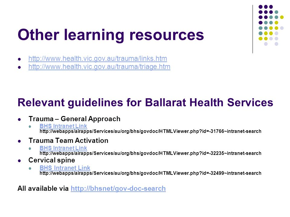 Other learning resources