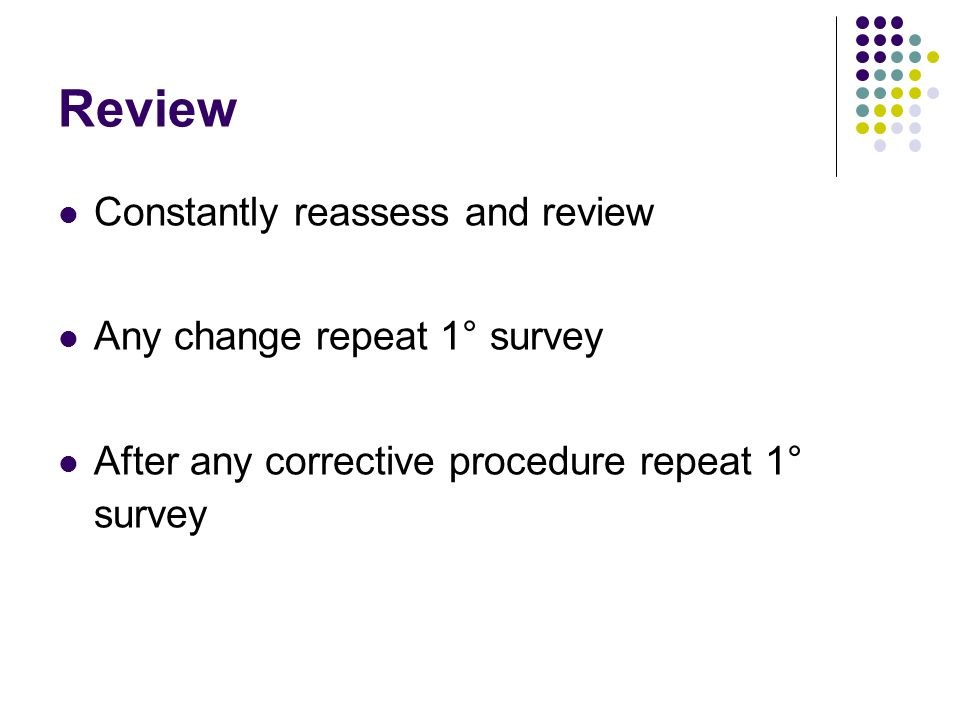 Review Constantly reassess and review Any change repeat 1° survey