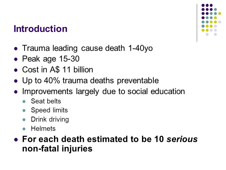 Introduction Trauma leading cause death 1-40yo. Peak age 15-30. Cost in A$ 11 billion. Up to 40% trauma deaths preventable.