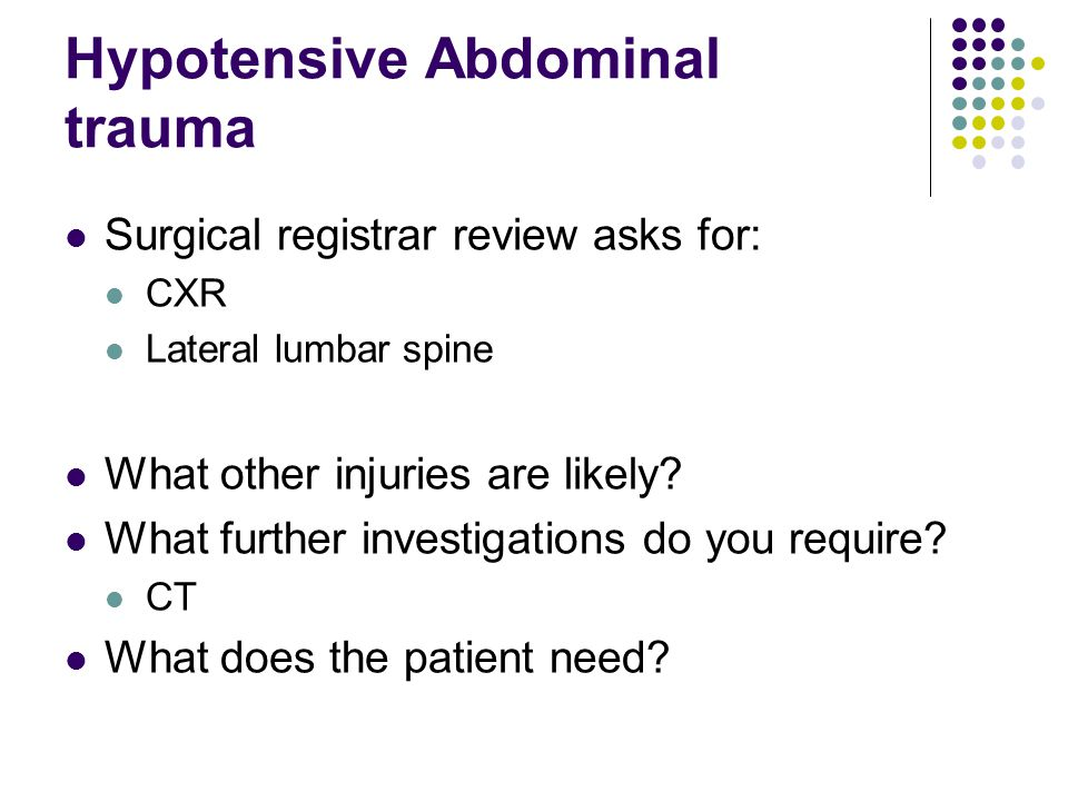 Hypotensive Abdominal trauma