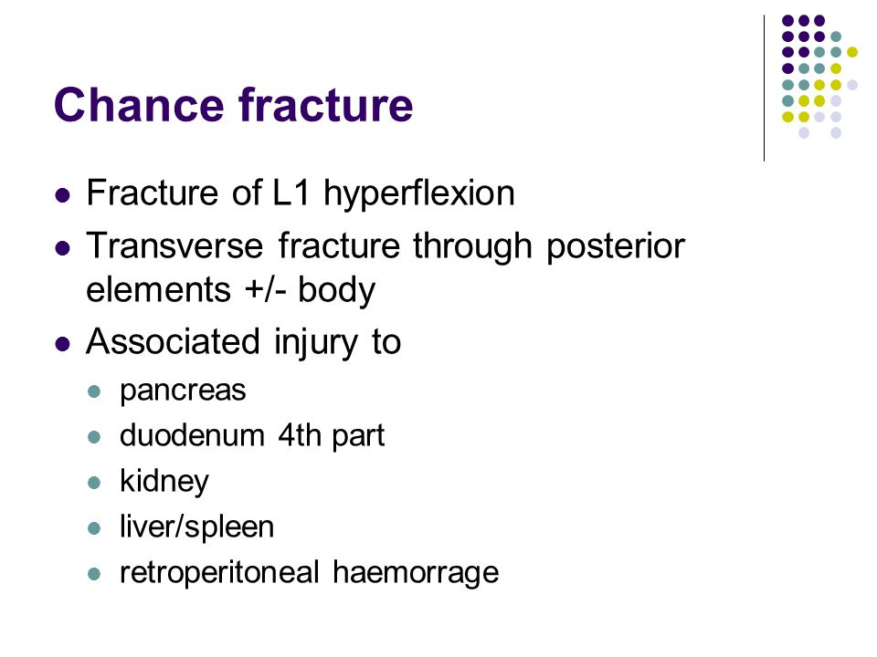 Chance fracture Fracture of L1 hyperflexion