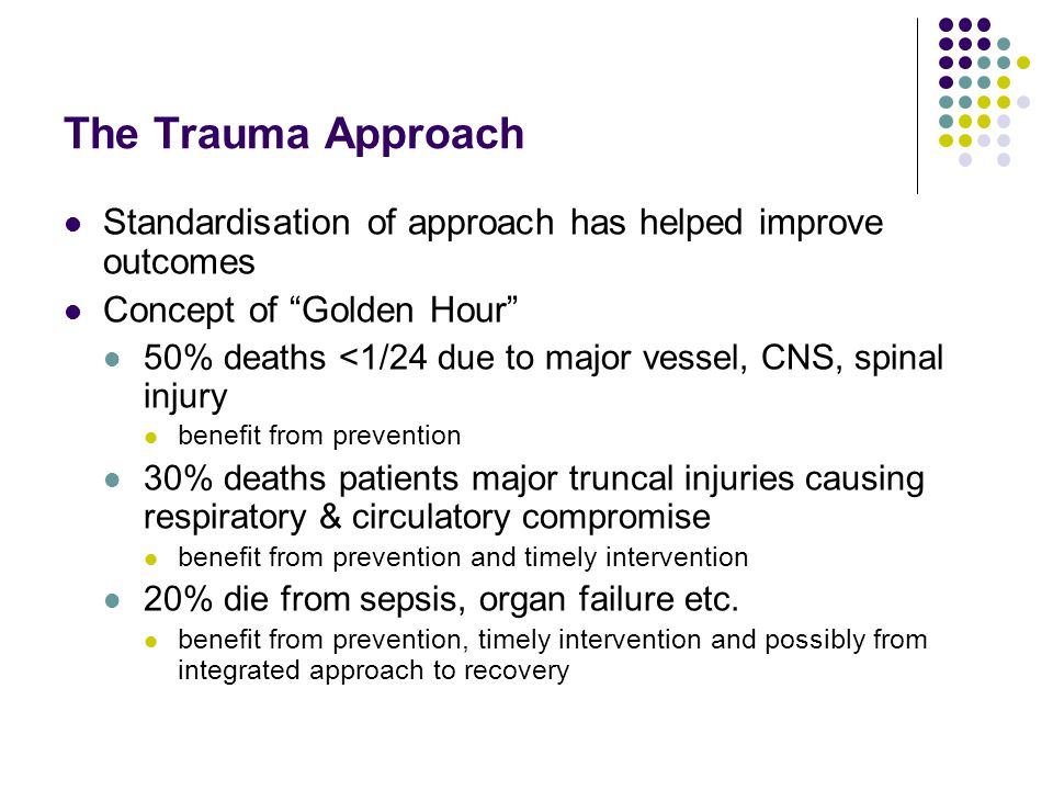The Trauma Approach Standardisation of approach has helped improve outcomes. Concept of Golden Hour