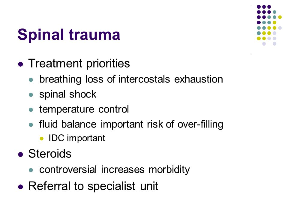 Spinal trauma Treatment priorities Steroids