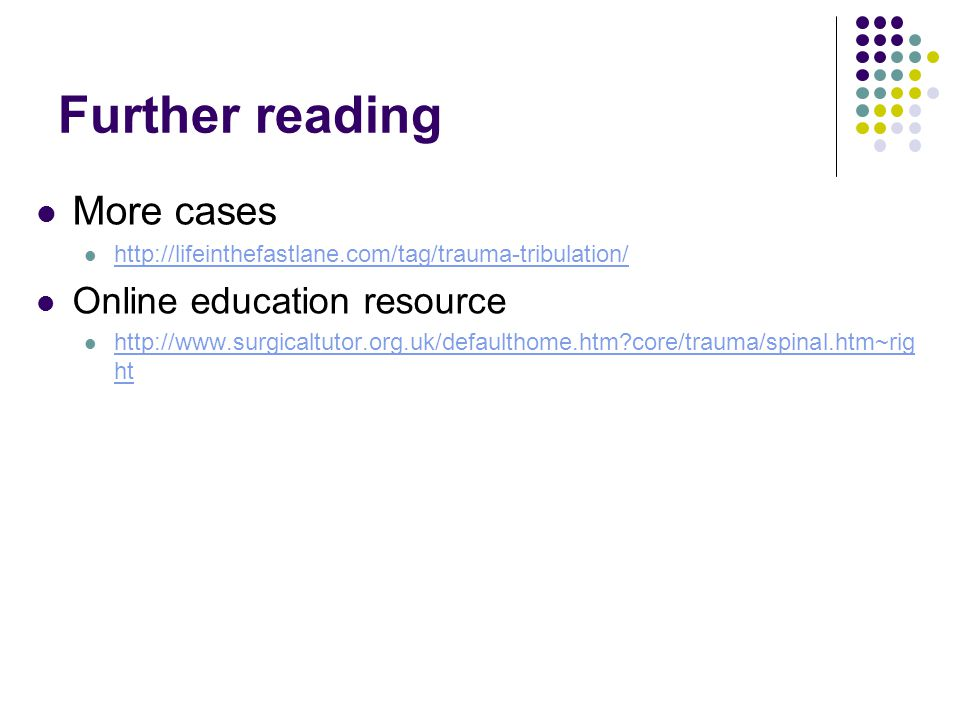 Further reading More cases Online education resource
