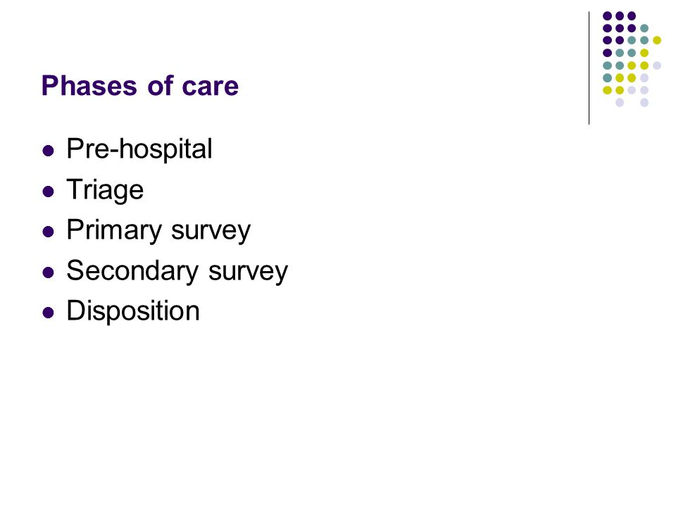 Phases of care Pre-hospital Triage Primary survey Secondary survey Disposition