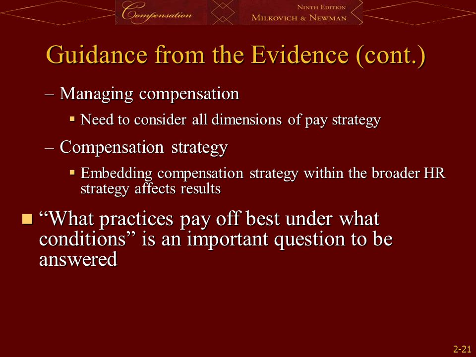 Guidance from the Evidence (cont.)