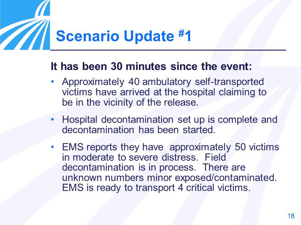 Scenario Update #1 It has been 30 minutes since the event: