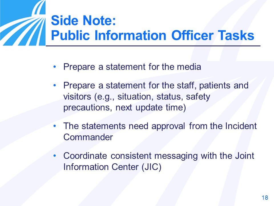 Side Note: Public Information Officer Tasks